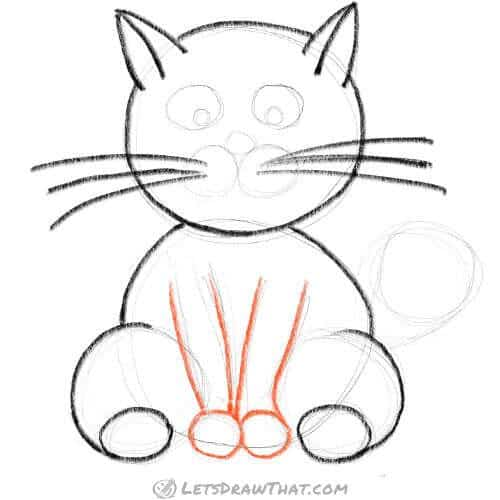 How to draw a cat using circles - draw the front legs