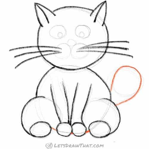 How to draw a cat using circles - draw the tail