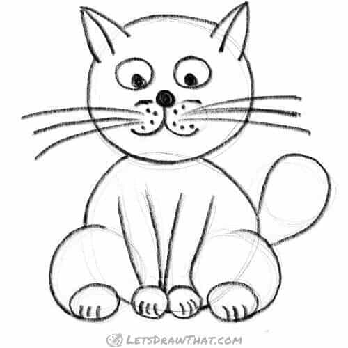 How to draw a cat using circles: completed pencil outline