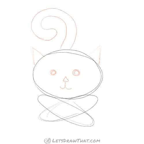 How to draw a cat with three ovals - draw face, ears and tail