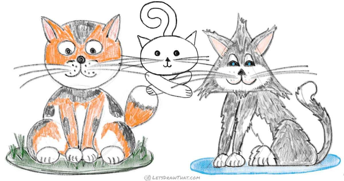 How to draw a cat using simple shapes - step by step drawing tutorial