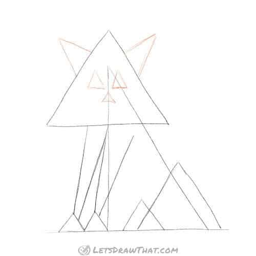 How to draw a cat from triangles - sketch cat's face and ears