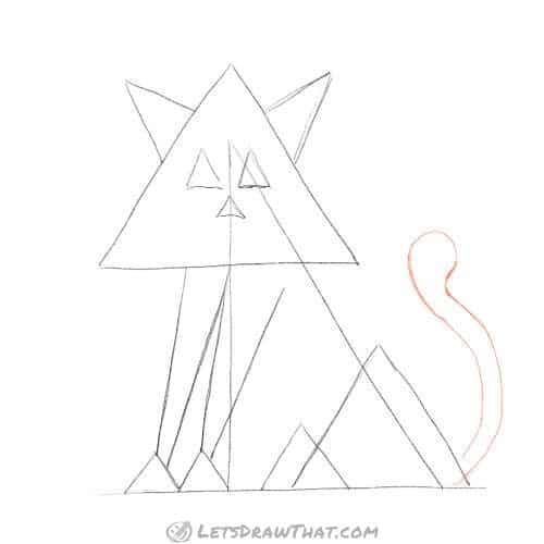 How to draw a cat from triangles - sketch the tail