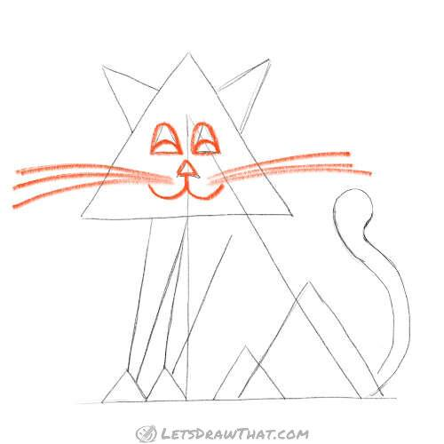 Draw the cat face – eyes, mouth and whiskers