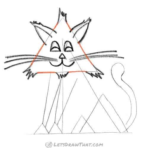 How to draw a cat from triangles - finish drawing the head