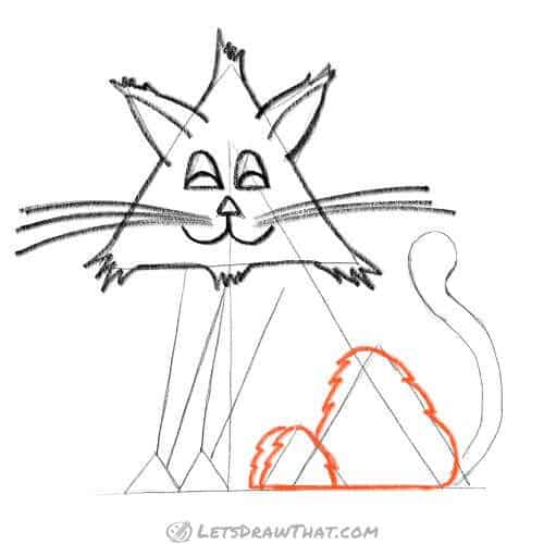 How to draw a cat from triangles - draw the rear legs and paws
