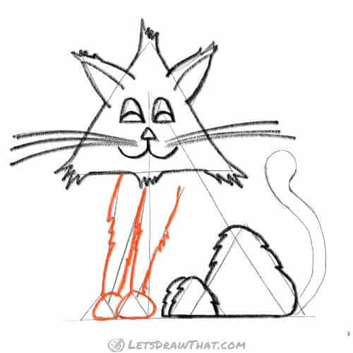How to draw a cat from triangles - draw the front legs and paws