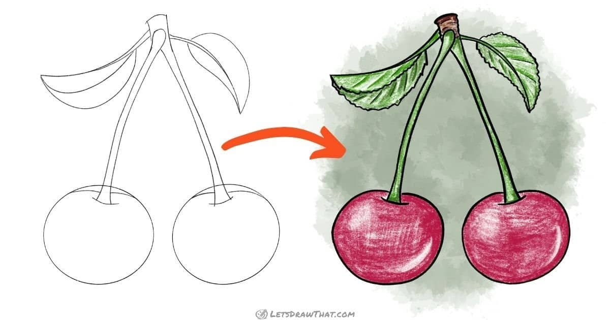 How to draw cherries - step-by-step drawing tutorial
