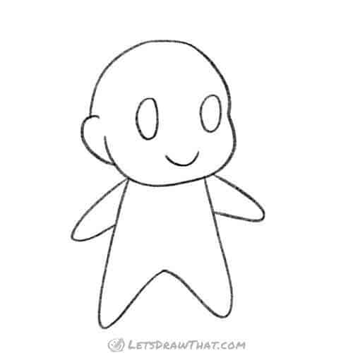 How to draw chibi base figure: completed outline