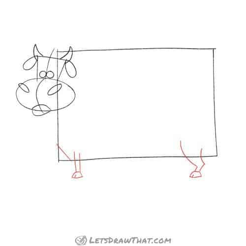 Drawing step: Draw the cow's legs