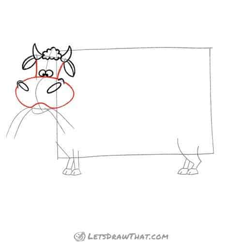 Drawing step: Outline the cow's head