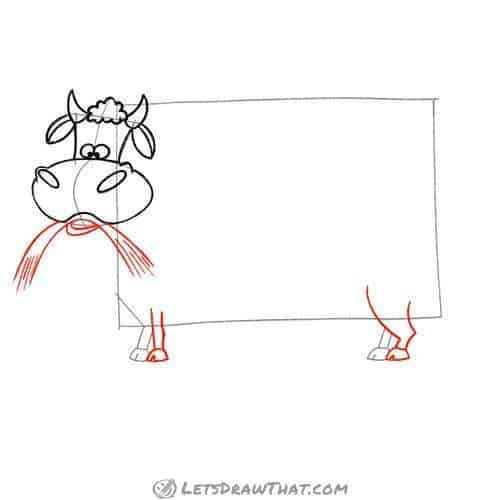 Drawing step: Draw the cow's mouth and legs