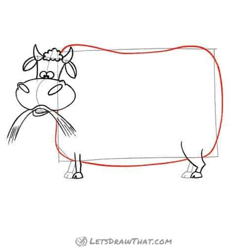 Drawing step: Draw the cow's body