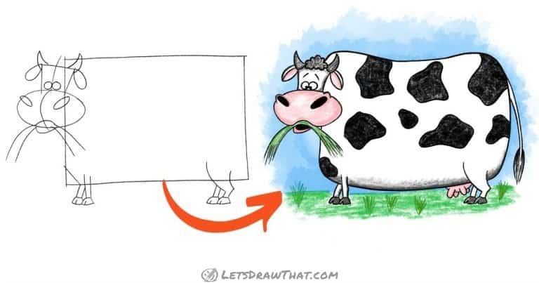 How to draw a cow - easy cute cartoon style - step-by-step-drawing tutorial featured image