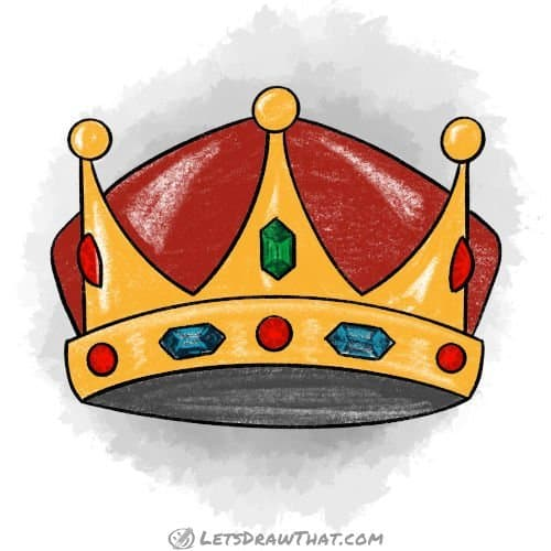 How to draw a crown - completed coloured-in drawing