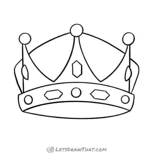 How to draw a crown - completed outline drawing