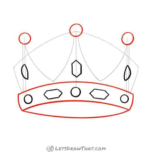 Draw the crown headband and top circles