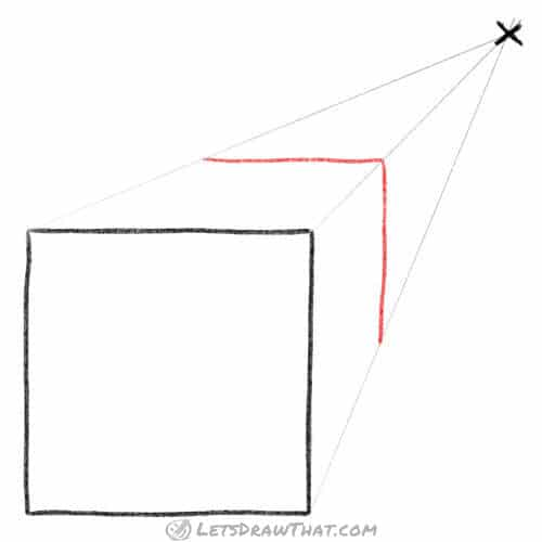 Draw the far edges of the cube