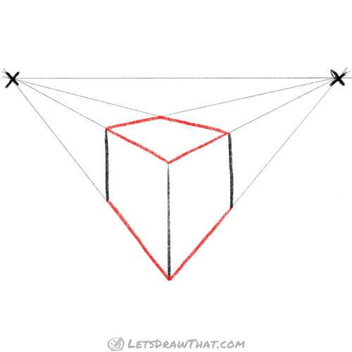 Draw a cube from the guidelines