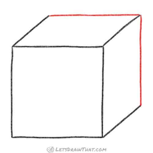 Draw the rear edges to finish the cube