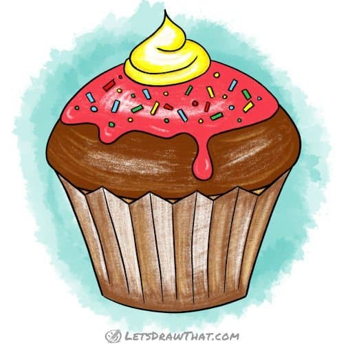 How to draw a cupcake: finished drawing coloured-in