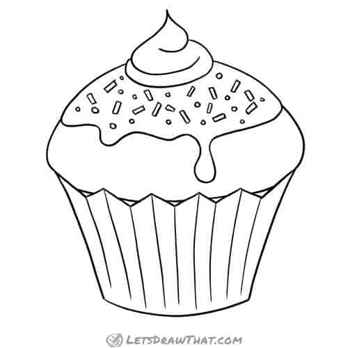 How to draw a cupcake: finished outline drawing