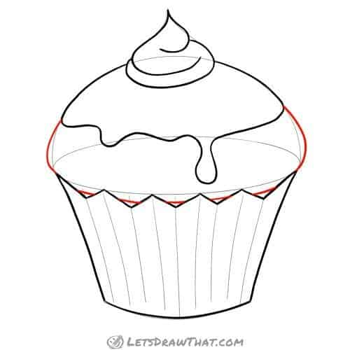 Draw the muffin in the cup