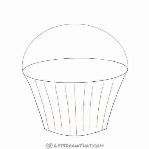 Sketch the muffin and cup folds