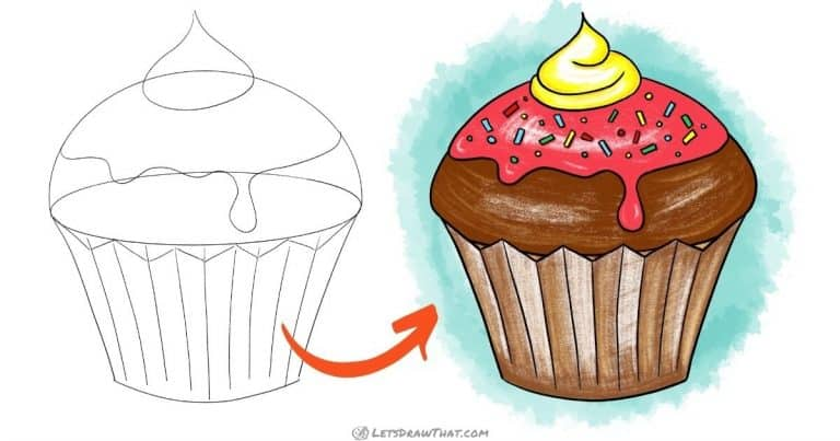 How to draw a cupcake - simple and delicious - step-by-step-drawing tutorial featured image