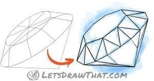 How to draw a diamond - step-by-step drawing tutorial