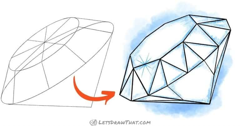 How to draw a diamond - easy steps to the complex shape - step-by-step-drawing tutorial featured image