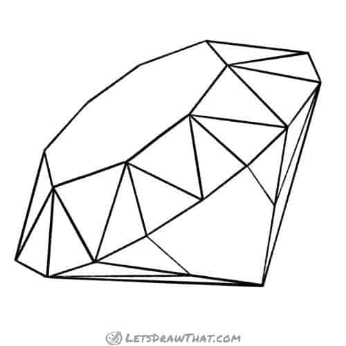 How to draw a diamond -completed outline drawing