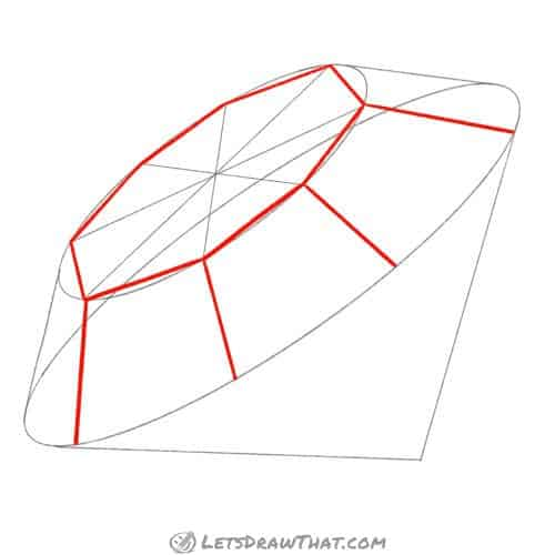 Drawing step: Draw the top edges of the diamond