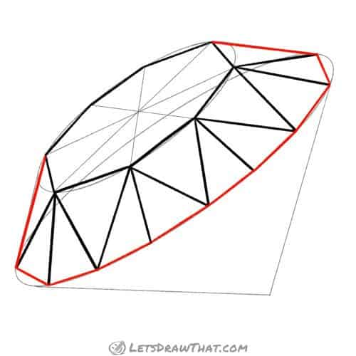 Drawing step: Draw the outer edges of the diamond