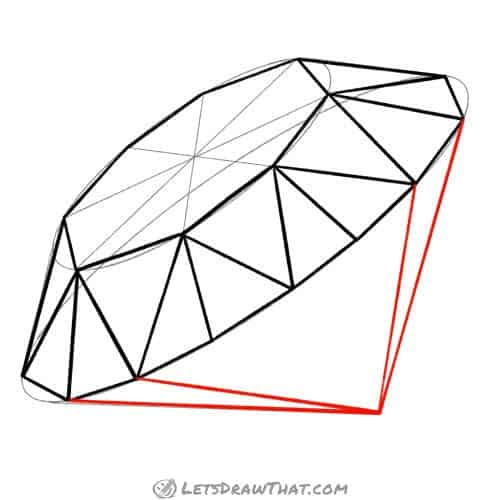 Drawing step: Draw the pointed diamond bottom