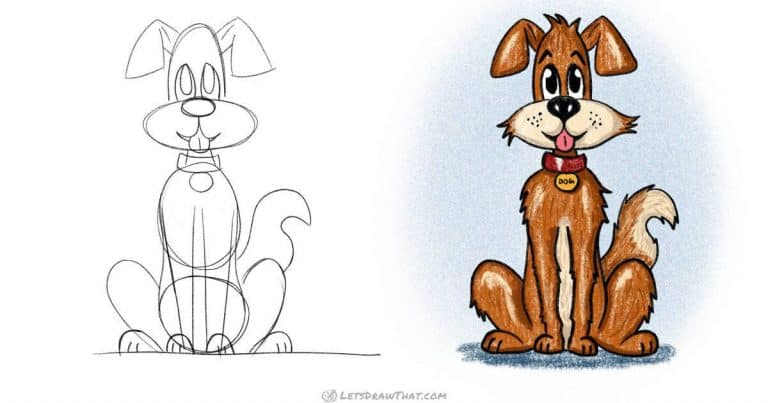 How to draw a dog: a cute cartoon style scruffy rascal - step-by-step-drawing tutorial featured image