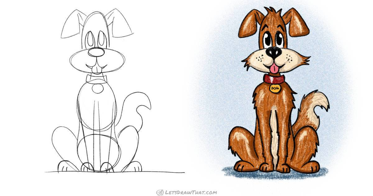 How to draw a dog: a cute cartoon style scruffy rascal - step by step drawing tutorial