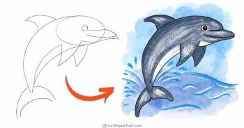How to draw a dolphin - a simple step-by-step drawing - step-by-step-drawing tutorial featured image