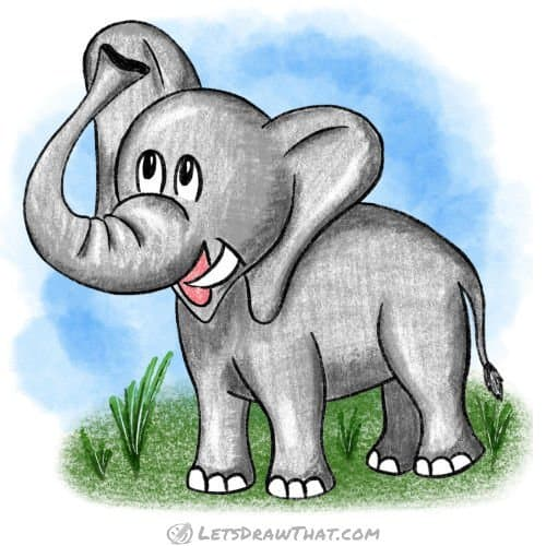 How to draw an elephant: finished drawing coloured-in