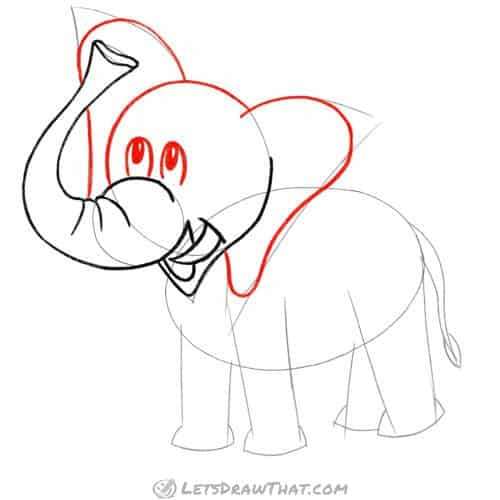 Drawing step: Draw the elephant's head