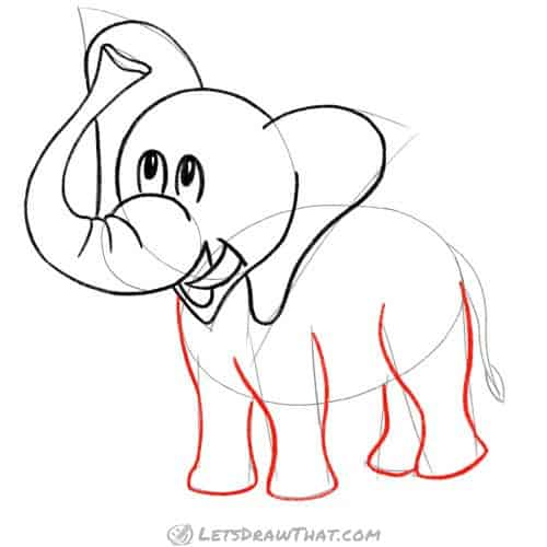 Drawing step: Draw the elephant's legs