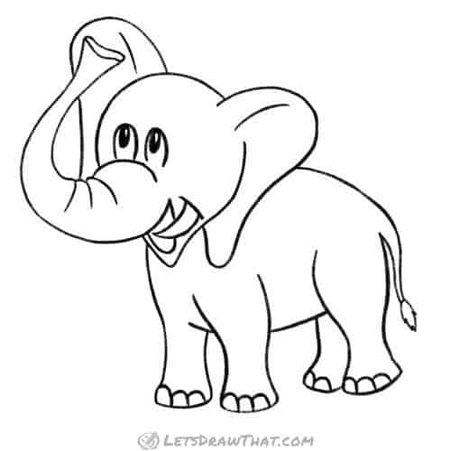 How to draw an elephant: completed pencil outline
