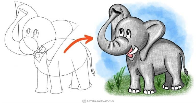How to draw an elephant - easy step by step drawing - step-by-step-drawing tutorial featured image