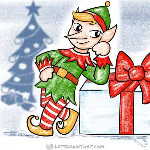 How to draw an elf - completed drawing coloured in
