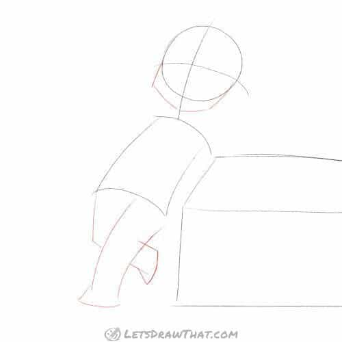 Drawing step: Add chin and legs
