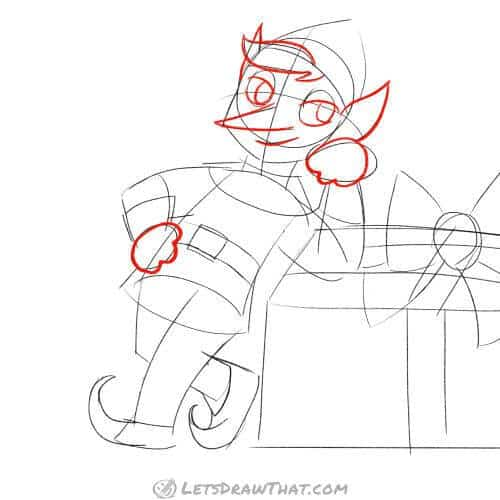 Drawing step: Outline the face and hands