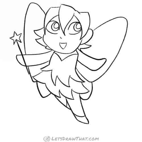 How to draw a fairy: completed pencil outline drawing of fairy drawn in chibi style
