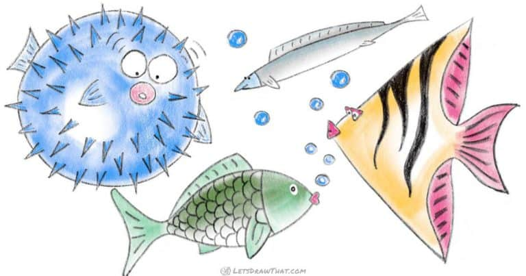 How to draw a fish using simple shapes - step-by-step-drawing tutorial featured image