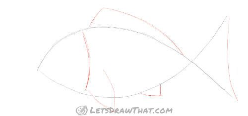 How to draw a fish from two simple arcs - Add head and fins