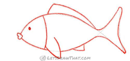How to draw a fish from two simple arcs - Trace the sketch